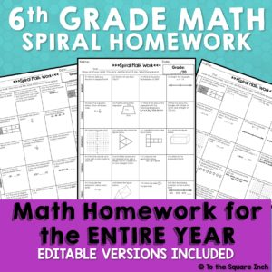 Spiral math homework for 6th grade