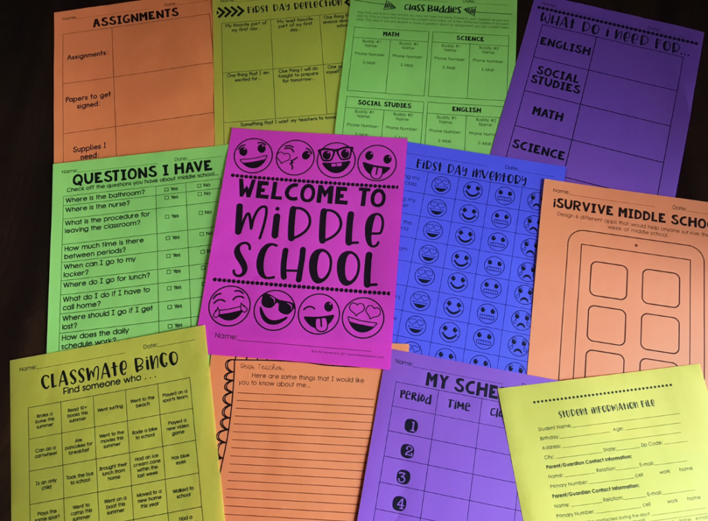Middle School Back to School Activities | To The Square Inch